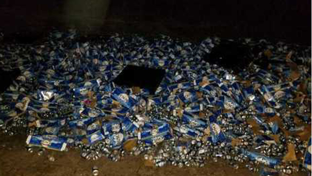 About 60000 pounds of Busch Beer spills onto I-10 in Florida