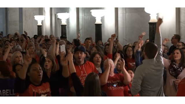 Teachers and service personnel celebrate the enactment of 5% pay raises