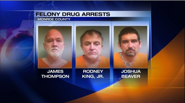 Three men facing felony drug trafficking charges in Monroe County